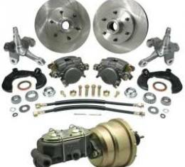 Chevy Power Front Disc Brake Kit, With Ford Bolt Pattern & 2 Drop Spindles, For Mustang II, 1949-1954