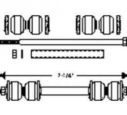 Chevy End Link Kit, Anti-Sway Bar, Front, 1949-1954