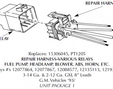Corvette Repair Harness, Blower/Fan/Ignition/AC, 1985-1998