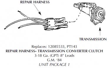 Corvette Repair Harness, Transmission Converter Clutch, Torque Converter, 1984-1991