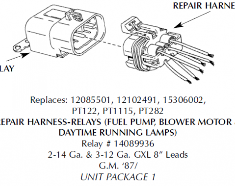 Corvette Repair Harness, Cooling Fan Relay, 1988-1994