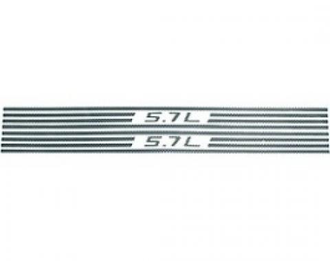 Corvette Fuel Rail Cover Decals, Simulated Carbon, Fiber 5.7L & Stripes, 1997-2004