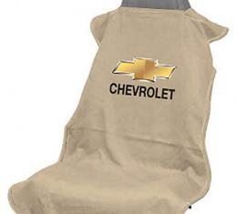 Seat Armour Chevrolet Seat Towel, Tan with Script SA100CHVT