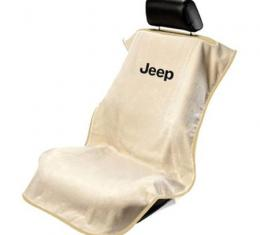 Seat Armour Jeep Letters Seat Towel, Tan with Logo SA100JEPT