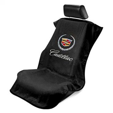 Seat Armour Cadillac Seat Towel, Black with Script SA100CADB