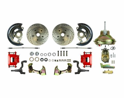 "Right Stuff Power Front Stock Height Disc Brake Conversion Kit with an 11"" Brake Booster & Master Cylinder, Drilled and Slotted Rotors, Red Powder Coated Calipers and Stainless Hoses for 67-72 GM A-Body. AFXDC06CZ"