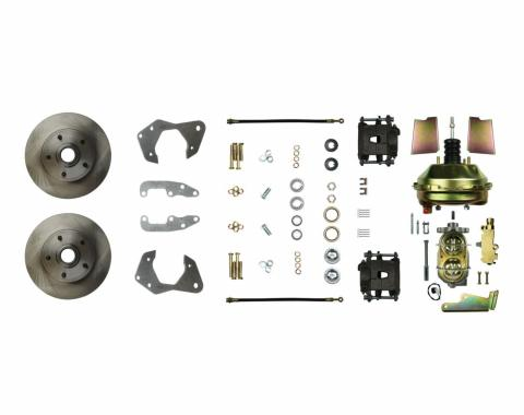 "Right Stuff Power Front Stock Height Disc Brake Conversion Kit with 9"" Brake Booster & Master Cylinder, Standard Rotors and Natural Finish Calipers for 65-70 Chevy car. FSC65DCC"