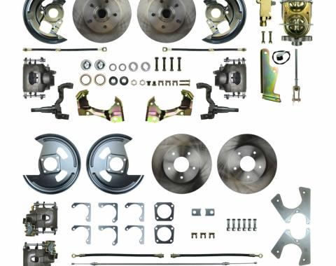 Right Stuff 4 Wheel Stock Height Manual Disc Brake Conversion with a Master Cylinder & Valve, Spindles, Standard Rotors, Natural Finish Calipers, Hoses, Backing Plates, Caliper Brackets for 67 GM F-Body with Non-Staggered Rear Shocks. AFXSD42C