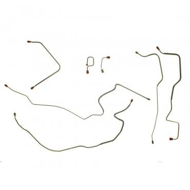 Right Stuff 71 - 72 Pwr. Disc 2WD 1/2 Ton Front Brake Line Kit; Stainless; 7 Pcs. TKT7105S