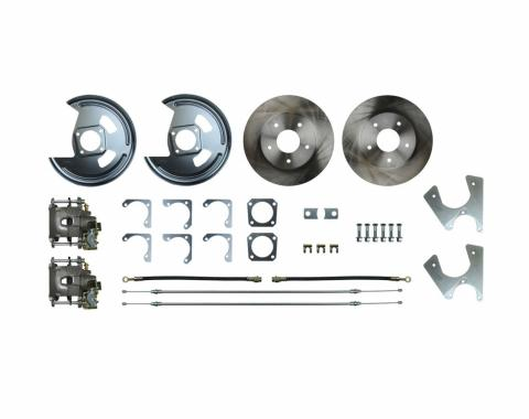 Right Stuff Rear Disc Brake Conversion Kit with Standard Rotors, Natural Finish Calipers, Hoses, E-Brake Cables & more for 75-81 F-Body with Staggered Shocks. AFXRD07