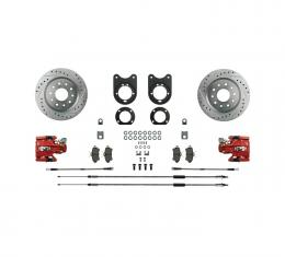 Right Stuff Signature Series Big Brake Rear Disc Conversion Kit with Drilled & Slotted Rotors, Red Powder Coated Calipers, Stainless Hoses, E-brake cables and more for 64-77 GM A-Body. AFXRD31Z