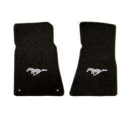Mustang Floor Mats, 2 Piece Lloyd® Velourtex™, with Silver Running Horse, Black Carpet, 1964-1973