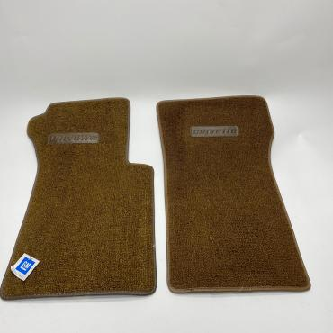 Corvette Floor Mats, 2 Piece ACC Loop, with Embossed Emblem, Dark Saddle (12), BLEM 1963-1967