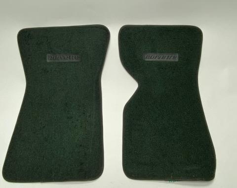 Corvette Floor Mats, 2 Piece ACC 80/20 Loop, Dark Green (08), BLEM 1968-1976