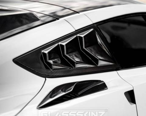 GlassSkinz 2014-19 Corvette Bakkdraft Quarter Louvers C7BAKKDRAFT-QTR WINDOW | Carbon Flash GAR
