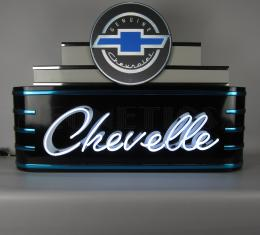 Neonetics Big Neon Signs in Steel Cans, Art Deco Marquee Chevelle Neon Sign in Steel Can