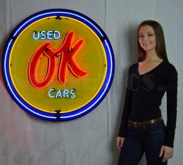 Neonetics Big Neon Signs in Steel Cans, Gm Ok Used Cars 36 Inch Neon Sign in Metal Can