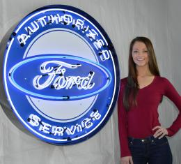 Neonetics Big Neon Signs in Steel Cans, Authorized Ford Service 36 Inch Neon Sign in Metal Can