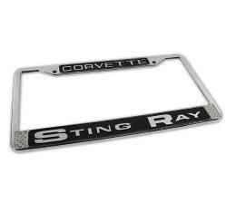 Corvette License Plate Frame, Stingray Chrome, 1963-1976