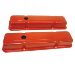 Chevy Small Block Valve Covers, Tall Style, Orange, 1958-1986
