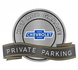Chevy Vintage Bowtie Hot Rod Garage Private Parking Metal Sign, 18 X 14