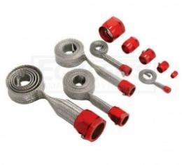 Nova And Chevy II Universal Hose Cover Kit, Stainless Steel With Red Clamps, 1962-1979