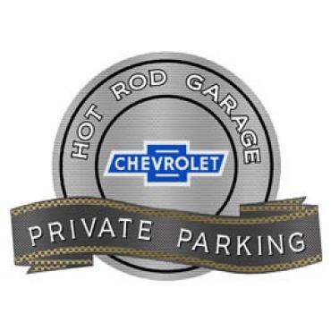 Chevy Vintage Bowtie Hot Rod Garage Private Parking Metal Sign, 18 X 14