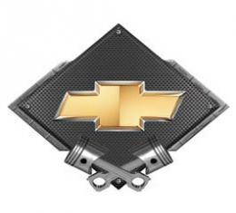 Chevrolet Bowtie Metal Sign, Black Carbon Fiber, Crossed Pistons, 25 X 19