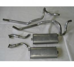 Nova Single Exhaust System Cat Back For 6 Cylinder, V8 Aluminum, W/ Dual Tailpipes, 1975-1979