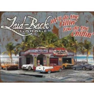 Laid Back Dream Chevy Garage Tin Sign 12 X 16
