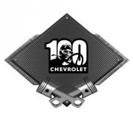 Chevrolet 100 Years Driver Metal Sign, Black Carbon Fiber, Crossed Pistons, 25 X 19