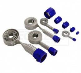 Nova And Chevy II Universal Hose Cover Kit, Stainless Steel With Blue Clamps, 1962-1979