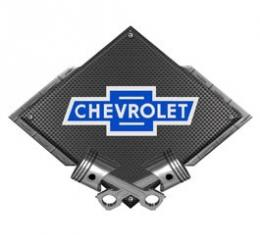Chevrolet Vintage Bowtie Metal Sign, Black Carbon Fiber, Crossed Pistons, 25 X 19