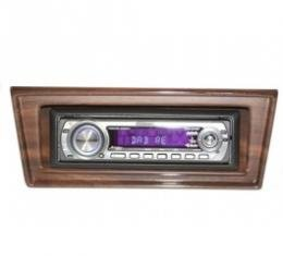 Chevy II-Nova Stereo Radio, KHE-100, AM/FM, Manual Tuning, Chrome Face, Wood Bezel, 1966-1967
