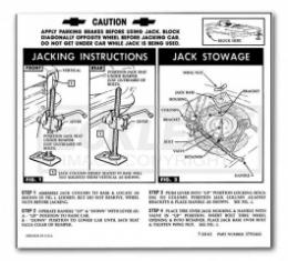 1962-1963 Nova And Chevy II Jack Instruction Decal, Regular Wheel, Convertible