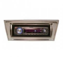 Chevy II-Nova Stereo Radio, KHE-100, AM/FM, Manual Tuning, Black Face, Chrome Bezel, 1966-1967
