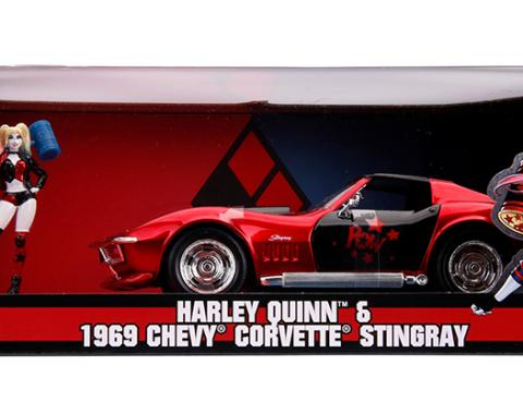 Jada 1:24 W/B DC Comics Bombshells - Harley Quinn & 1969 Chevrolet Corvette Stingray (Red/Black)