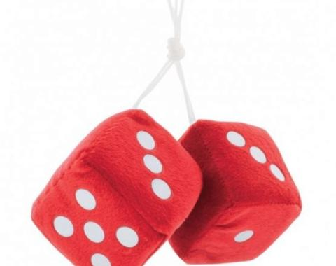 "United Pacific 3"" X 3"" Classic Fuzzy Dice, Red (Pair) C5038R"