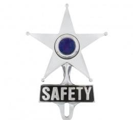 United Pacific Safety Star License Frame Ornament w/Blue Center Light C5047