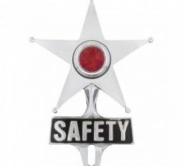 United Pacific Safety Star License Frame Ornament w/Red Center Light C5046