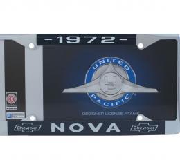 United Pacific Chrome License Plate Frame For 1972 Chevy Nova C5045-72