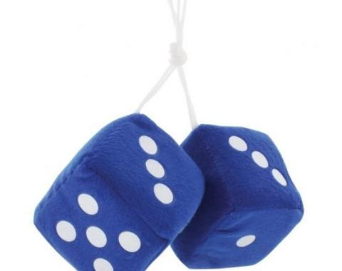 "United Pacific 3"" X 3"" Classic Fuzzy Dice, Blue (Pair) C5038B"