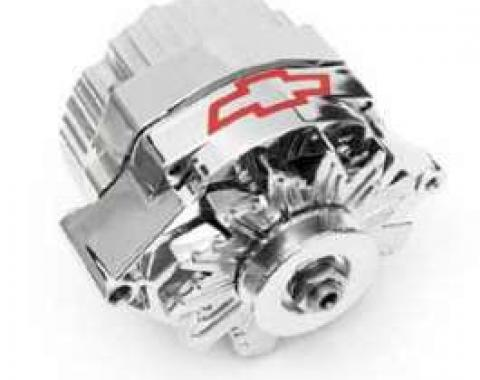 Full Size Chevy Alternator, Chrome, With Bowtie Logo, 120 Amp, 1-Wire, 1958-1972