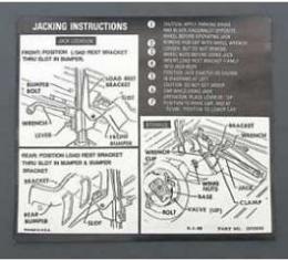 Full Size Chevy Jack Stowage & Jacking Instructions Sheets, Hardtop &Sedan, 1970
