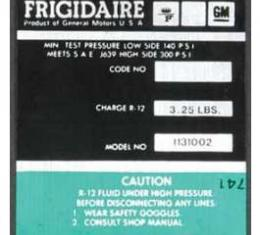 Full Size Chevy Air Conditioning Compressor Decal, Frigidaire, 1972-1973