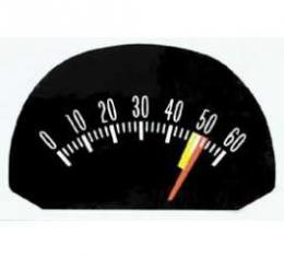 Full Size Chevy Tachometer Face Decal, 6000 RPM & 5200 Red Line, 1963-1964