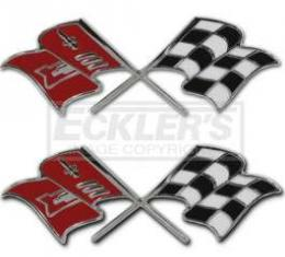 Full Size Chevy Fuel Injection Front Fender Emblems, Crossed Flags, 1958-1960