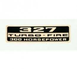 Full Size Chevy Valve Cover Decal, Turbo-Fire, 327ci/300hp, 1962-1964