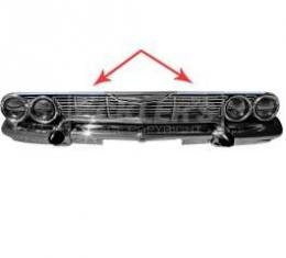 Full Size Chevy Upper Grille Molding, Pair, 1961