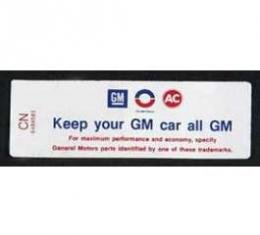 Full Size Chevy Air Cleaner Decal, Keep Your GM Car All GM, 350ci/255hp, 1969